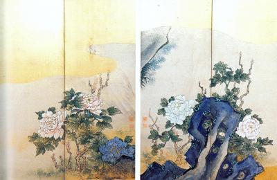 「牡丹図屏風」は、南画花鳥画の好題である「玉堂富貴図」を連想させる太湖石(だこせき)に芳麗な牡丹を配するもので、左右双方の株の牡丹が美を競って向かい合っている様子を描いています。